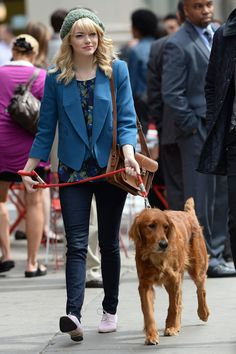 Emma Stone walked Andrew Garfield's dog in NYC on May 28.