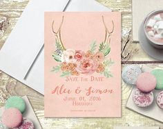 Spring Weddings Save The Date Cards / Chalkboard by TheRocheShop