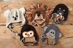 Crochet Zoo of Animals Hats Pattern - Knitting Patterns by Cathy Kean