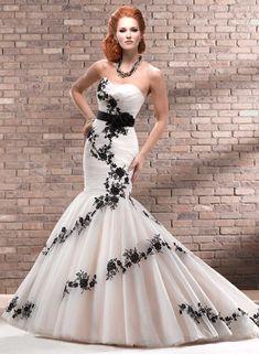 1 starpless black & white wedding dress