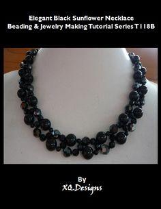 Elegant Black Sunflower Necklace Beading & Jewelry Making Tutorial