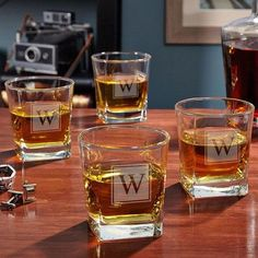 Home Wet Bar Personalized Rutherford 10 oz. Whiskey Glass Monogram: