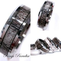 Mens Tungsten Ring Antler Wedding Band Engagement by RingsParadise