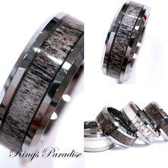 Mens Tungsten Ring Antler Wedding Band Engagement Rings
