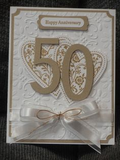 wedding anniversary cards for grandparents 50th Anniversary Invitations, Love Anniversary, Wedding Anniversary Cards, Handmade Anniversary Cards, 50th Birthday Cards, Wedding Cards Handmade, Engagement Cards, Stamping Up Cards, Homemade Cards