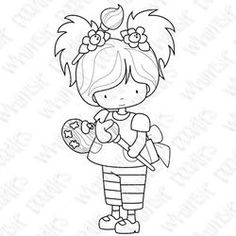 paint girl Whimsy Stamps, Digi Stamps, Baby Embroidery, Embroidery Patterns, Planner Doodles, Little Charmers, Penguin Art, Girl Artist, Pintura Country