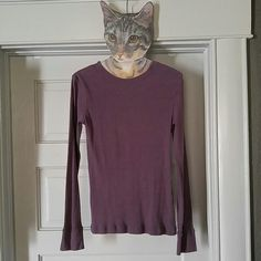 Purple Long Sleeve Ribbed, Fitted Top Long sleeve fitted top. Tag is torn, which is only damage, but fit is small - medium. Vanity Tops