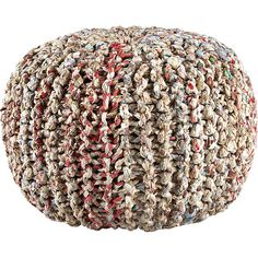 'Eco Seat' Hand Knitted textured cotton weave subtle multi color palette Recycled Pouf
