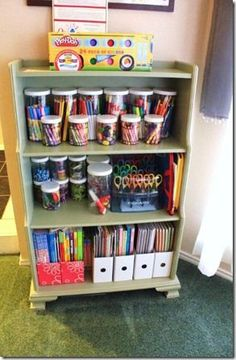 Get Organized: Kid's Art Supplies - This is a very creative idea to organize supplies