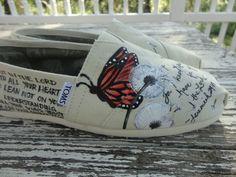 Custom hand painted toms, butterfly dandelion garden. $55.00, via Etsy.