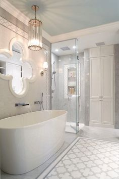 Here, we have compiled bathroom remodel ideas that may suitable for any of your bathroom conditions. You can choose from the simple addition of furniture to spice up, or you want to do something greater. Bathroom Red, Bathroom Floor Tiles, Bathroom Wallpaper, Small Bathroom, Master Bathroom, Bathroom Ideas, Glass Bathroom, Bathroom Colors, Bathroom Vanities