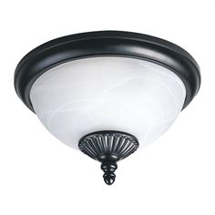Sea Gull Lighting 88048PEN-12 2 Light Yorktowne Energy Star Outdoor Close to Ceiling Light, Black