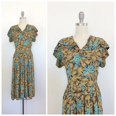 40s Golden Floral Rayon Dress / 1940s by CheshireVintageShop