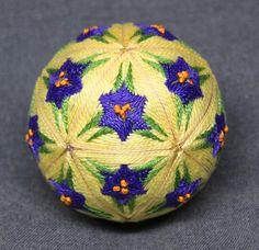 3 Inch Diameter Japanese Temari Ball Embroidered Ornamental