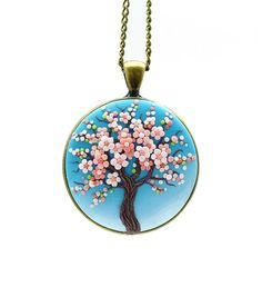 Sakura necklace Tree-Of-Life necklace pendant Cherry by KittenUmka
