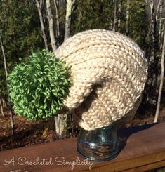 """Crochet this """"Knit-Look"""" Bulky Slouch Hat pattern by Jennifer Pionk (A Crocheted Simplicity) with Lion Brand Wool-Ease Thick & Quick. This fast-finish project makes a great gift! Get the free pattern on Raverly."""