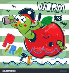 Cute cartoon pirate worm looking through binoculars in red apple floating on water on striped background illustration vector.