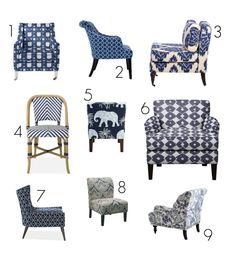Design Nine: Blue & White Patterned Occasional Chairs   Apartment Therapy