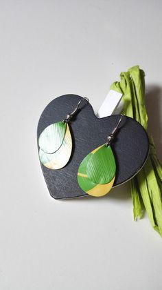 Boucles d'oreilles gouttes d'eau Nespresso jaunes verts pop féériques version 1 : Boucles d'oreille par miss-perles