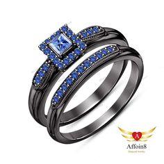1.30 CT 14K Black Gold Plated 925 Silver Princess Blue Sapphire Bridal Ring Set #Affoin8