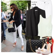 Eva Longoria by majksister on Polyvore featuring Kain, Helmut Lang, Jane Norman, Christian Louboutin, Rebecca Minkoff, platform heels, top handle bags, cat eye glasses, aviator sunglasses and blazers