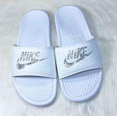 9396589299fae0 nike shoes Slide into Summer with these Sparkling Nike Slide Sandals!  Custom hand jeweled with genuine Swarovski Crystals