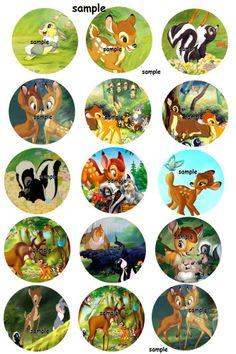 Bambi Disney inspired 30 Precut Bottlecaps Images 1 inch Circle Deer kids