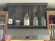 Barn wood turned into my range hood! Antique Items, Barn Wood, Bathroom Medicine Cabinet, Beams, Liquor Cabinet, Range, Rustic, Decorating, Antiques