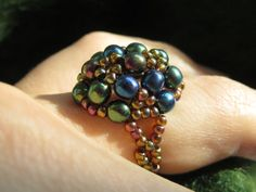 Forest Fairy Berry Ring: Size 6.5 Iridescent Beaded Ring, Sizes 5 - 12 Made to Order