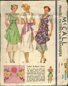 McCall 504; ©1937; Printed Pattern. Ladies' & Misses' Apron. If it's a print you select for this...