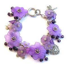 Jewellery Beading Kit Charm Bracelet Lucite Flowers & Crystals Purple
