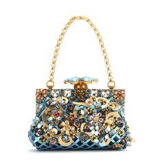 mytheresa.com - Clutch Vanda in pelle e velluto con decorazioni - Borse a tracolla - Borse - Dolce & Gabbana - Luxury Fashion for Women / Designer clothing, shoes, bags