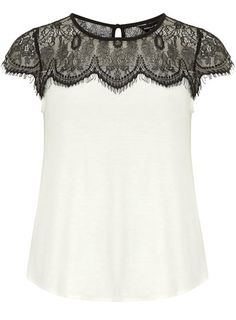 Ivory lace jersey top #DorothyPerkins