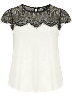 Ivory lace jersey top #DorothyPerkins