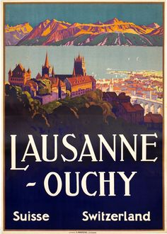 Vintage Travel Poster by Johannes Emil Muller: Lausanne~Ouchy, Switzerland
