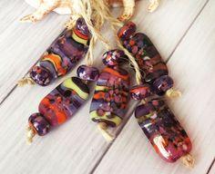Handmade Lampwork Glass Beads Rectangle From Murano Glass Lilac Color 13 Pcs #HandmadeLampworkBeads #Lampwork