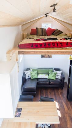 An open floorpan tiny house on wheels in Qualicum Beach, British Columbia, Cananda. Built by Rewild Homes.