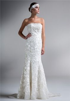 Embroidered and beaded lace strapless wedding gown // KYM19 from Ysa Makino