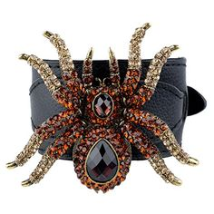 EVER FAITH Spider Bracelet Pu Leather Buckle Topaz Color Austrian Crystal  http://www.amazon.com/dp/B00AT9KLIS/ref=cm_sw_r_pi_dp_BDjUvb1X46E5X