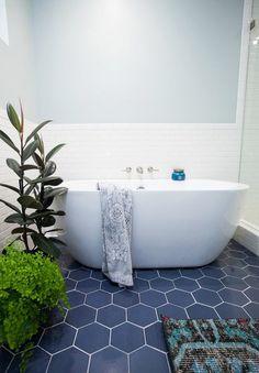 Hexagon idea but don't like subway white tiles. hexagon tiles bathroom hexagon blue floor tile with white subway tile modern fresh bathroom tile Bathroom Tile Designs, Bathroom Floor Tiles, Bathroom Ideas, Room Tiles, Kitchen Tiles, Bathroom Vanities, Tile Bathrooms, Shower Designs, Bath Ideas