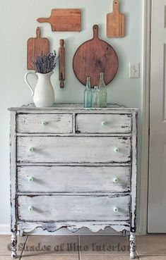 Makeover Monday: A White Chippy Dresser and Cutting Board Gallery Wall - Shades of Blue Interiors