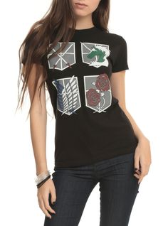 Attack On Titan Four Shields Girls T-Shirt | Hot Topic