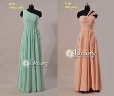 Custom Long Chiffon Bridesmaid Dress,Mint Green Chiffon Dresses,Long Peach Party Dress --Reserved Link for Heidi's Wedding