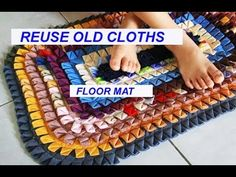 reuse old साड़ी - सूट - पुराने कपड़ों से बनाए Floor Mat, carpet , area r. Fabric Rug, Fabric Scraps, Rangoli Designs For Competition, Recycled Rugs, Bead Embroidery Tutorial, Diy Carpet, Carpet Ideas, Backpack Pattern, Diy Crafts Hacks