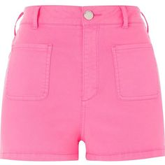 River Island Fluro pink high waisted shorts ($44) ❤ liked on Polyvore featuring shorts, pink, high rise shorts, high-waisted shorts, river island, zipper pocket shorts and highwaist shorts