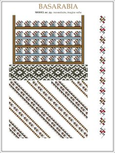 Semne Cusute: iie din BASARABIA - model (25) Folk Embroidery, Embroidery Patterns, Cross Stitch Patterns, Quilt Patterns, Knitting Patterns, Popular Costumes, Embroidery Techniques, Mosaic Art, Beading Patterns