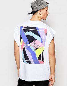 Imagen 1 de Camiseta sin mangas extragrande con estampado estilo surfero en el pecho y la espalda de ASOS