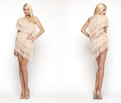 Mikael D blush pink tier frilled one-shouldered mini dress