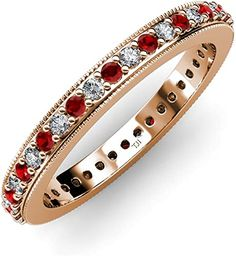Your Personal Ejeweler..This Magnificent Eternity band adds some extra beauty as it is studded with Micro Pave set Red Garnet and Diamond,framed by fine Milgrain at the corners all around the band,making it more Elegant. #Trijewels #Ejeweler #Eternity #Diamond #Sapphire #EternityRing #WeddingBand #EternityBand #Ring #WomenRing #Gift #Wedding #Engagement #Womenjewelry #AnniversaryRing #Wedding #Garnet #Jewelry #Diamond #Gold #Milgrain #StackableRing #WomensRing