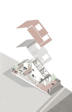 Gallery of Tile Roof House / - Roof House,Exploded Axonometric The Roof House Save Continues in Berlin Danish Sigurd Larsen is a young architect and furniture designer graduate. Architecture Board, Architecture Graphics, Architecture Visualization, Architecture Drawings, Architecture Portfolio, Concept Architecture, Interior Architecture, Futuristic Architecture, Architecture Diagrams